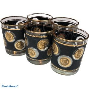 Libbey Coin Glasses Cocktail Swanky Vintage Drinks